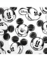 25 Servilletas de papel Mickey™ retro negro y blanco 33 x 33 cm