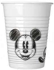 25 Vasos de plástico Mickey™ retro negro y blanco 200 ml
