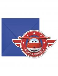 6 Tarjetas de invitación con sobres Super Wings™ 20 x 13 cm