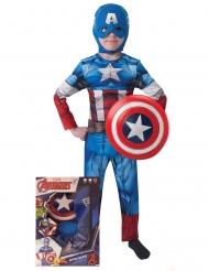 Disfraz Capitán América™ con escudo caja niño