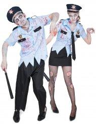 Disfraz de pareja policía zombie Halloween
