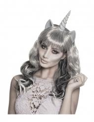Peluca fantasma unicornio plateada mujer
