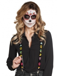 Tirantes negros con esqueletos mexicanos adulto Día de los muertos
