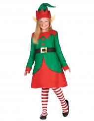 Disfraz vestido duende de Papá Noel niña