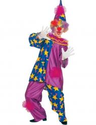 Disfraz payaso con estrellas violeta adulto