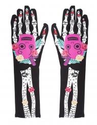 Guantes esqueleto Día de los muertos coloridos mujer