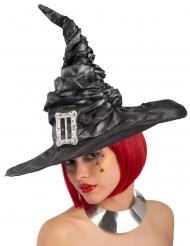 Sombrero bruja negro con hebilla mujer