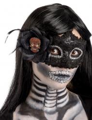 Máscara negra de plástico Día de los muertos mujer