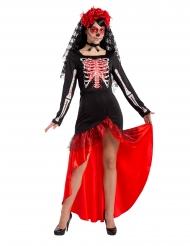 Disfraz bailaora flamenco esqueleto mujer