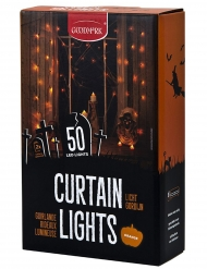 Decoración interior guirlanda cortina luminosa 50 LED naranja