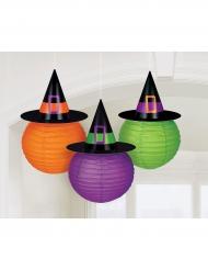 3 Linternas de papel sombrero de bruja Family friendly 24 cm
