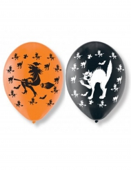 6 Globos de látex gatos y brujas Halloween