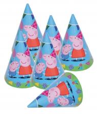6 Gorros de fiesta Pepa Pig™ 16 x 11 cm
