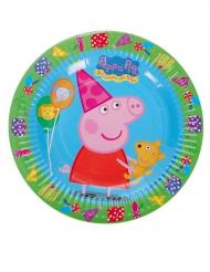 8 Platos pequeños de cartón Peppa Pig™ 18 cm