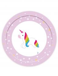 8 Platos de cartón unicornio 23 cm