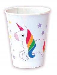 8 Vasos de cartón unicornio 220 ml