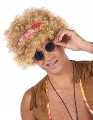 Peluca afro hippie rubia adulto