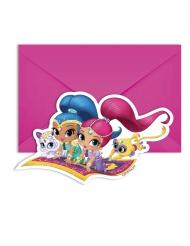 6 Tarjetas de invitación y sobres Shimmer and Shine™ 14 x 9 cm