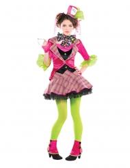 Disfraz sombrerero loco rosa niña
