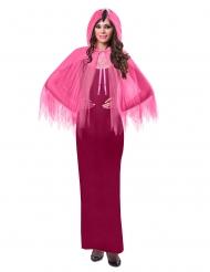 Capa con capucha flamenco rosa adulto