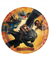 8 Platos de cartón Cómo entrenar a tu dragón™ 23 cm