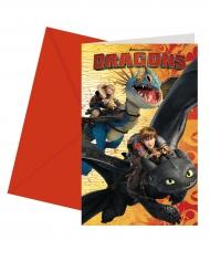 6 Tarjetas de invitación con sobres Dragons™ 14 x 9 cm