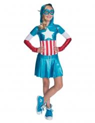Disfraz metálico Capitán América™ niña