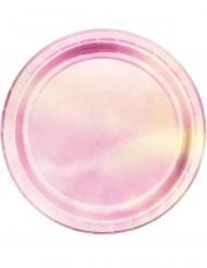 8 Platos pequeños de cartón rosa tornasol 18 cm