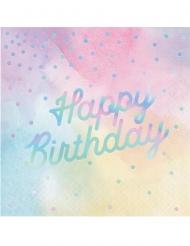 16 Servilletas de papel Happy Birthday colores tornasol 33 x 33 cm