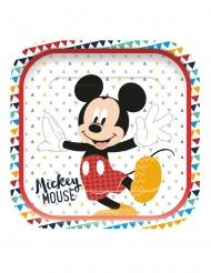 4 Platos de cartón cuadrado premium Mickey™ 24 x 24 cm