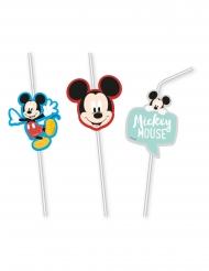 6 Pajitas flexibles medallón premium Mickey™