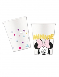 8 Vasos de cartón efecto metálico premium Minnie™ 260 ml