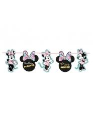 Guirlanda de cartón efecto metalizado premium Minnie™ 102 x 16 cm