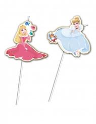 6 Pajitas flexibles medallón premium Princesas Disney™