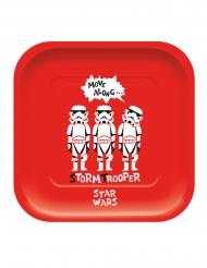 4 Platos de cartón cuadrados premium Star Wars™ 24 x 24 cm
