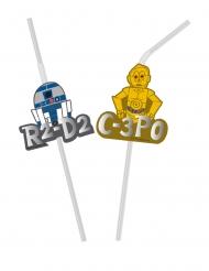 6 Pajitas flexibles con medallón tipo metálico Star Wars™