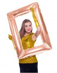 Globo aluminio marco rectangular rosa dorado 85 x 60 cm