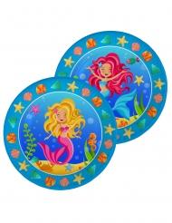 8 Platos de cartón sirenas multicolor 23 cm