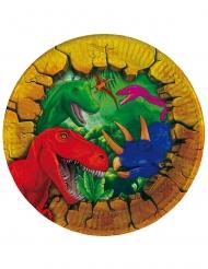 6 Platos pequeños de cartón dinosaurios 18 cm