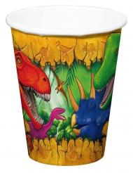6 Vasos de cartón dinosaurios 250 ml