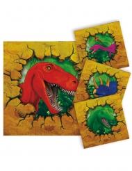 16 Servilletas pequeñas de papel dinosaurios 25 x 25 cm