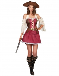 Disfraz pirata burdeo sexy mujer