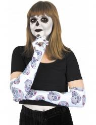 Guantes largos blancos con esqueleto de colores Día de los muertos