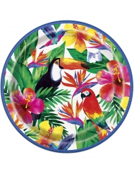 8 Platos de cartón Palm Tropical Luau 23 cm