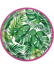 8 Platos pequeños de cartón Palm Tropical Luau 18 cm