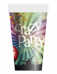 6 Vasos de cartón Crazy Party 25 cl.
