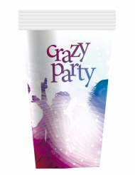 6 Vasos de cartón Crazy Party blanco 25 cl