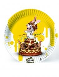 6 platos de cartón Rabbids™ amarillo 23 cms