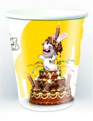 6 vasos de cartón Rabbids™ amarillo 25 cl