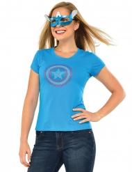 Camiseta con piedras brillantes y máscara American Dream Captain America™ mujer